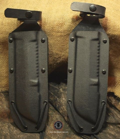 Relentless Knives Hand Made leather and kydex sheaths