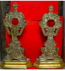 18th silver covered giltwood pair from Verona