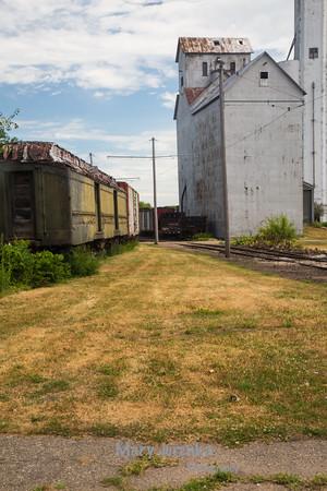 Old Corn Elevator and Rail Cars in Boone, Iowa