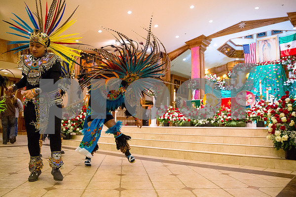 Matachina dancers perform at Día de la Virgen de Guadalupe feast day and mass, celebrated at St. Peter Claver Parish in Tyler, Texas, on Tuesday, Dec. 12, 2017. Día de la Virgen de Guadalupe honors the belief that Jesus' mother Mary, Mexico's patron saint, appeared to Juan Diego in Mexico City in 1531. (Chelsea Purgahn/Tyler Morning Telegraph)