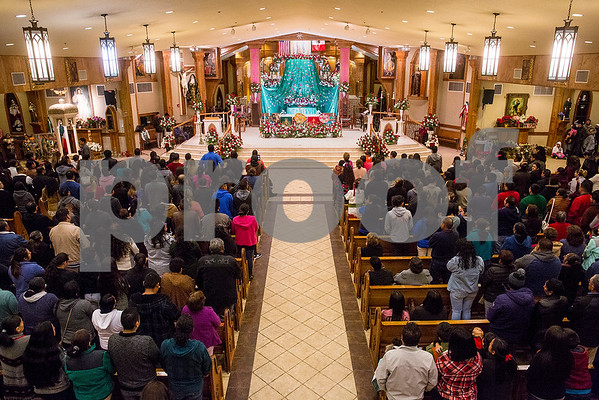 Día de la Virgen de Guadalupe feast day and mass is celebrated at St. Peter Claver Parish in Tyler, Texas, on Tuesday, Dec. 12, 2017. Día de la Virgen de Guadalupe honors the belief that Jesus' mother Mary, Mexico's patron saint, appeared to Juan Diego in Mexico City in 1531.(Chelsea Purgahn/Tyler Morning Telegraph)
