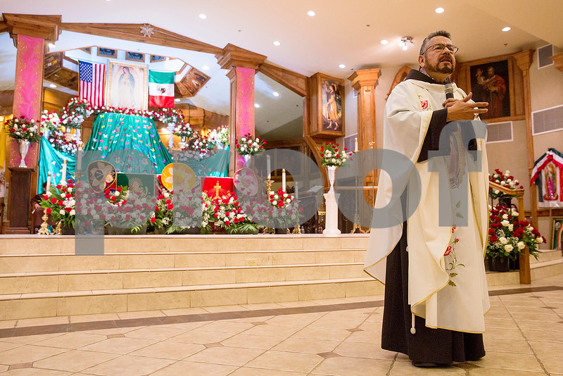 Father Luis Larrea speaks at Día de la Virgen de Guadalupe feast day and mass, celebrated at St. Peter Claver Parish in Tyler, Texas, on Tuesday, Dec. 12, 2017. Día de la Virgen de Guadalupe honors the belief that Jesus' mother Mary, Mexico's patron saint, appeared to Juan Diego in Mexico City in 1531. (Chelsea Purgahn/Tyler Morning Telegraph)