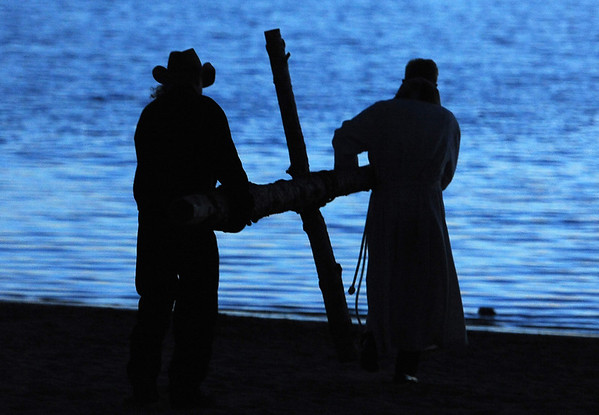 "Brian Haley, left, and Rev. Mark Twietmeyer, carry the cross to the beach of Boulder Reservoir.<br /> Trinity Lutheran Church in Boulder and Shepherd of the Hills Lutheran Church in Gunbarrel held an Easter  sunrise service at the Boulder Reservoir for the 17th year.<br /> For a video and more photos of the Easter service, go to  <a href=""http://www.dailycamera.com"">http://www.dailycamera.com</a> or  <a href=""http://www.coloradodaily.com"">http://www.coloradodaily.com</a>.<br /> Cliff Grassmick / April 8, 2012"