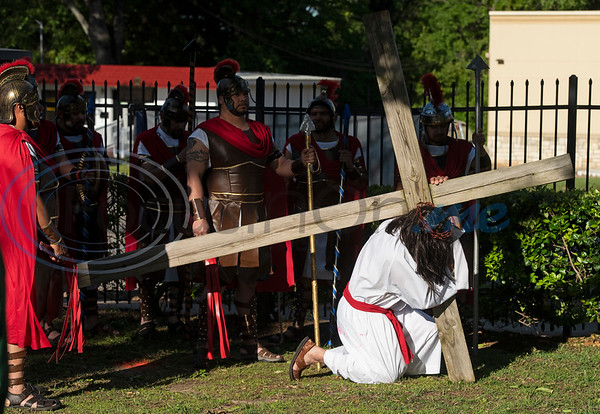 Jesus falls with the cross during a Stations of the Cross re-enactment held in Spanish on the lawn of St. Gregory Cathedral School presented by the Cathedral of the Immaculate Conception in Tyler on Good Friday, April 19, 2019. Emmanuel Ruiz of Tyler portrayed Jesus in the event. The stations tell the story of Pontius Pilate condemns Jesus to death, continuing with Jesus carrying his cross, seeing his mother, falling with his cross, being nailed to it, dying and being placed in the grave. On Sunday Christians will celebrate the resurrection of Jesus with Easter.   (Sarah A. Miller/Tyler Morning Telegraph)
