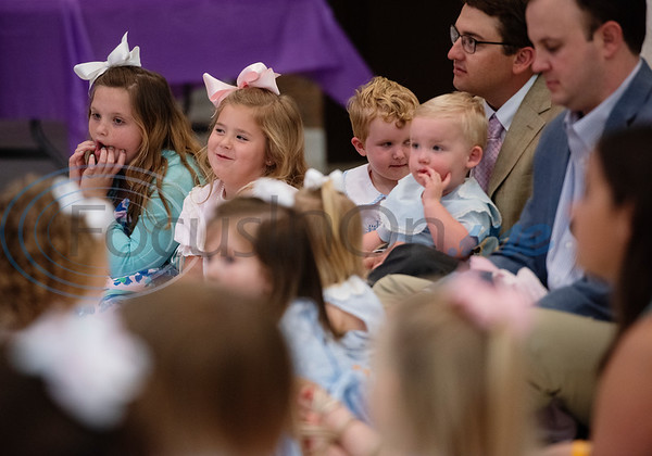 Children listen as Julie Brown, director of children's ministry at Marvin United Methodist Church, reads a Bible story during the Family Easter Celebration and Butterfly Release held at the church in downtown Tyler on Sunday April 21, 2019.   (Sarah A. Miller/Tyler Morning Telegraph)