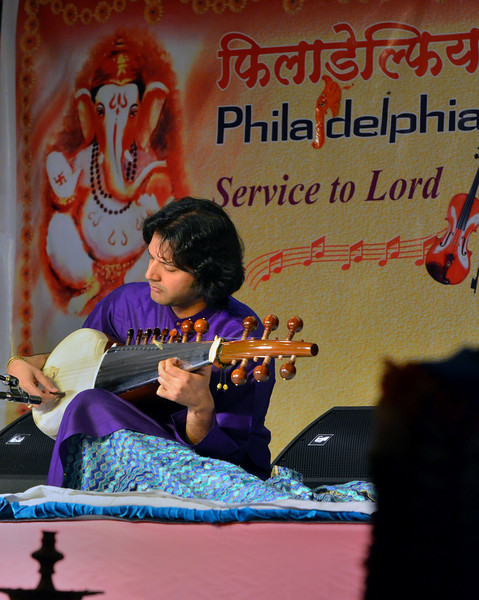 A Hindustani Classical Music Concert is performed by Ayaan Ali Khan during the the Phioladelphia Ganesh Festival at Bharatiya temple in Montgomery Township on Friday September 10,2013. Photo by Mark C Psoras