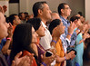 audience members applaud as Ustad Amjad Ali Khan performs a Hindustani Classical Music Concert  during the the Philadelphia Ganesh Festival at Bharatiya temple in Montgomery Township on Friday September 10,2013. Photo by Mark C Psoras