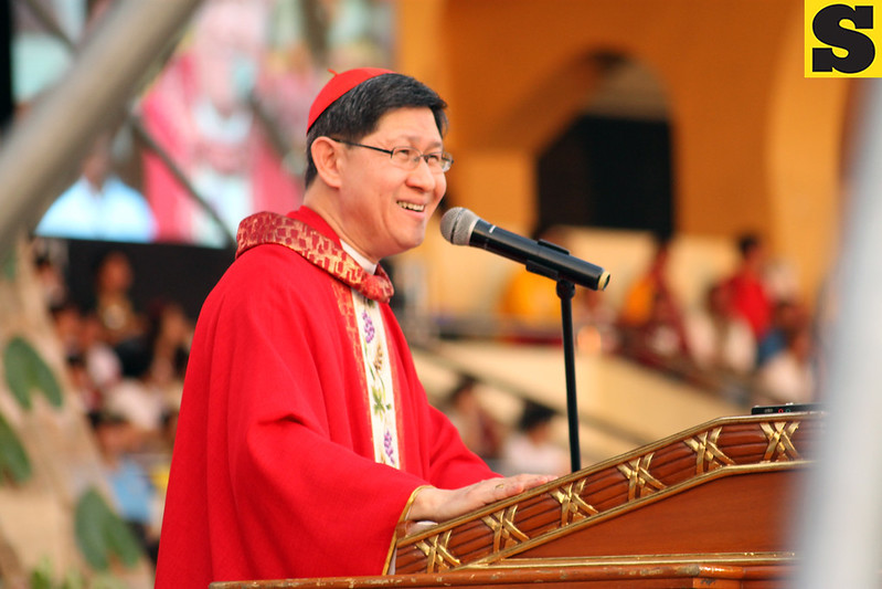 Manila Archbishop Luis Antonio Cardinal Tagle celebrates the Mass for the Feast of the Black Nazarene at the Quirino Grandstand on Thursday, January 9. (John Carlo Cahinhinan/Sunnex)