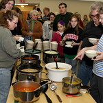 Hungry Extra Toppings fans line up for choice of soups, salads and ice cream desserts.