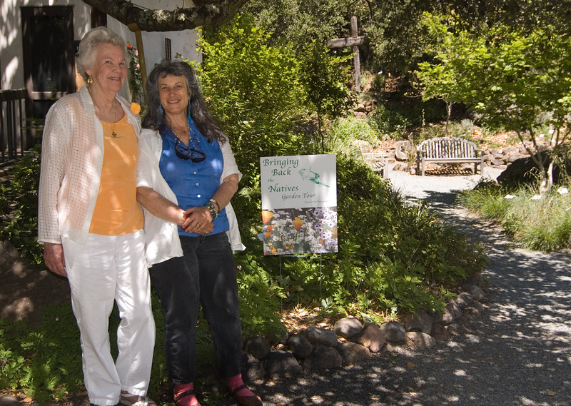 Margie Bowman and designer Corinne Greenberg show the meditation garden at St. John's Episcopal Church, featured on the Bringing Back the Natives garden tour, May 6, 2007