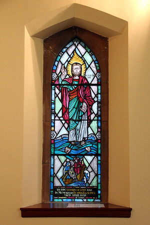 Stained glass window in Brodick Parish Church dedicated in 1958. 1 January 2012.