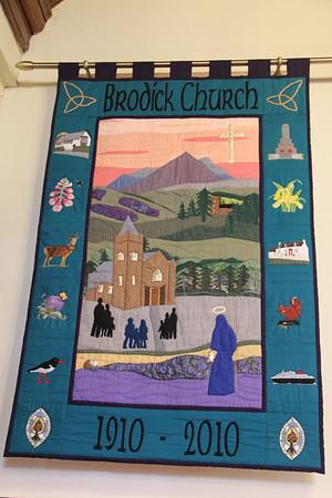 Centenary banner in Brodick Parish Church. 1 January 2012.