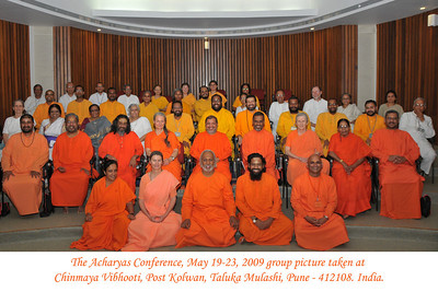 Group picture taken at the Acharyas (abroad) Conference, May 19-23 at Chinmaya Vibhooti, Post Kolwan, Taluka Mulashi, Pune - 412 108, Maharashtra. India.