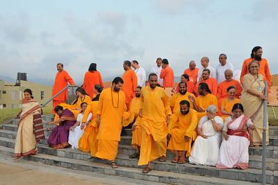 Everyone leaving after the group picture taken at the Acharyas (abroad) Conference, May 19-23 at Chinmaya Vibhooti, Post Kolwan, Taluka Mulashi, Pune - 412 108, Maharashtra. India.