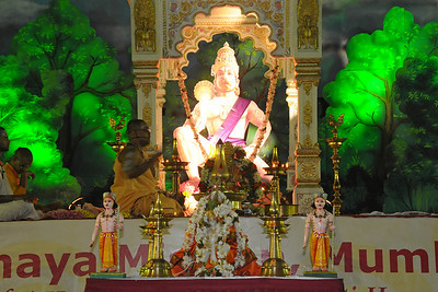Br. Samvitji performing the puja at Chinmaya Mission Mumbai's Maha Jnana Yajna and 108 Samashti Havan.   Chant Mumbai. Shaant Mumbai. Thousands of Mumbaikars came together on Sunday, 15th Feb 2009 to jointly chant 'Hanuman Chalisa', at a congregation called 'Chant Mumbai Shaant Mumbai'. The congregation was organised by Chinmaya Mission at Andheri Sports Complex for the peace and prosperity for the city of Mumbai.