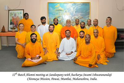 Group picture of the 12th Batch Alumni meeting at Sandeepany with Aacharya Swami Ishwaranandaji. Chinmaya Mission, Powai, Mumbai, MH, India.