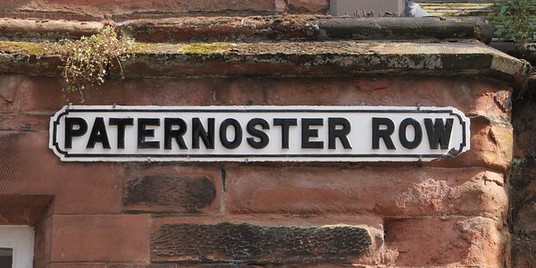 Paternoster Row adjacent to the cathedral precinct .<br /> Carlisle Cathedral <br /> 25 July 2015