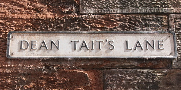Dean Tait's Lane adjacent to the cathedral precinct .<br /> Carlisle Cathedral <br /> 25 July 2015