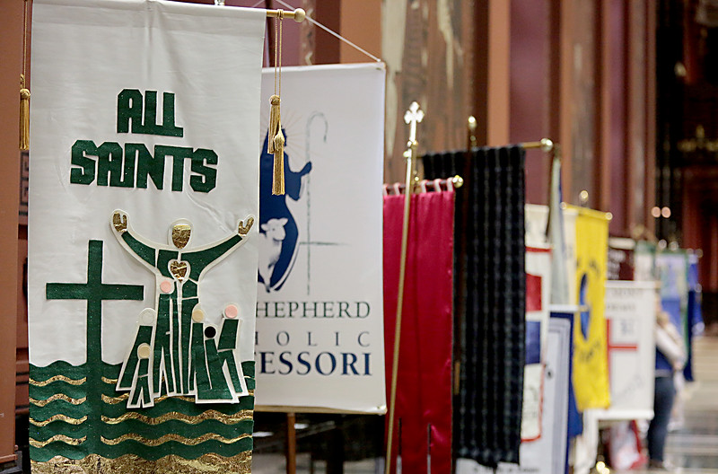 Banners line the aisle during the Catholic Schools Week Mass at the Cathedral of Saint Peter in Chains in Cincinnati Tuesday, Jan. 29, 2019. (CT Photo/E.L. Hubbard)