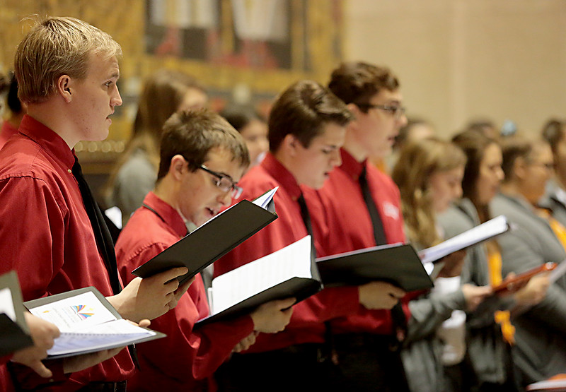 The choirs of La Salle and Mercy McAuley sing during the Catholic Schools Week Mass at the Cathedral of Saint Peter in Chains in Cincinnati Tuesday, Jan. 29, 2019. (CT Photo/E.L. Hubbard)