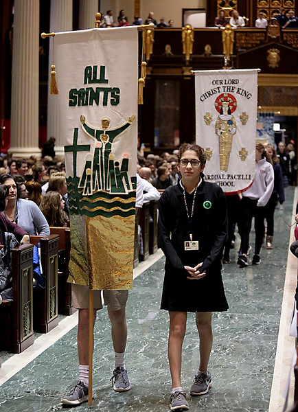 The Procession of the School Banners kicks off the Catholic Schools Week Mass at the Cathedral of Saint Peter in Chains in Cincinnati Tuesday, Jan. 29, 2019. (CT Photo/E.L. Hubbard)