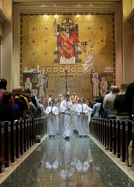 Thurifer Jesse Hardin, from Moeller, leads the Recessional after the Catholic Schools Week Mass at the Cathedral of Saint Peter in Chains in Cincinnati Tuesday, Jan. 29, 2019. (CT Photo/E.L. Hubbard)
