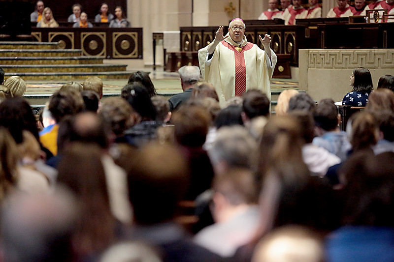Bishop Joseph Binzer delivers his Homily from the center aisle during the Catholic Schools Week Mass at the Cathedral of Saint Peter in Chains in Cincinnati Tuesday, Jan. 29, 2019. (CT Photo/E.L. Hubbard)