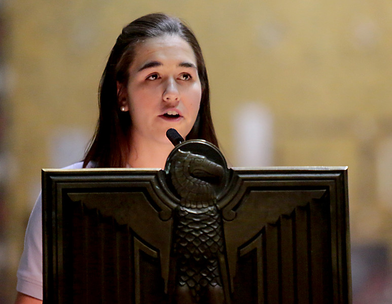 Sarah Nagy, from Mount Notre Dame, gives the First Reading during the Catholic Schools Week Mass at the Cathedral of Saint Peter in Chains in Cincinnati Tuesday, Jan. 29, 2019. (CT Photo/E.L. Hubbard)