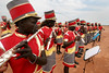Residents perform to welcome Catholic Archbishop of Khartoum, Sudan Cardinal Gabriel Zubeir Wako in Rumbek in southern Sudan, Nov. 19, 2005. The Cardinal came to celebrate the 50th anniversary of the Diocese of Rumbek. Wako, the first Sudanese cardinal ever, was greeted by a great celebration seldom seen before the the Jan. 9, 2005 peace accord was signed. The accord ended a 21-year conflict in the largest nation in Africa, which has only known 11 years of peace since independence from Britain in 1956.  In the accord, the Islamic Arab Sudanese government agreed to give autonomy to the non-Muslim southern Sudan region. After a six year period a referendum will be held to decide on independence or rejoining with the central government. The region has a population of around 9 million and a predominantly rural, subsistence economy. More than 2 million people have died and more than 4 million are internally displaced or have become refugees as a result of the civil war and war-related impacts.(Australfoto/Douglas Engle)