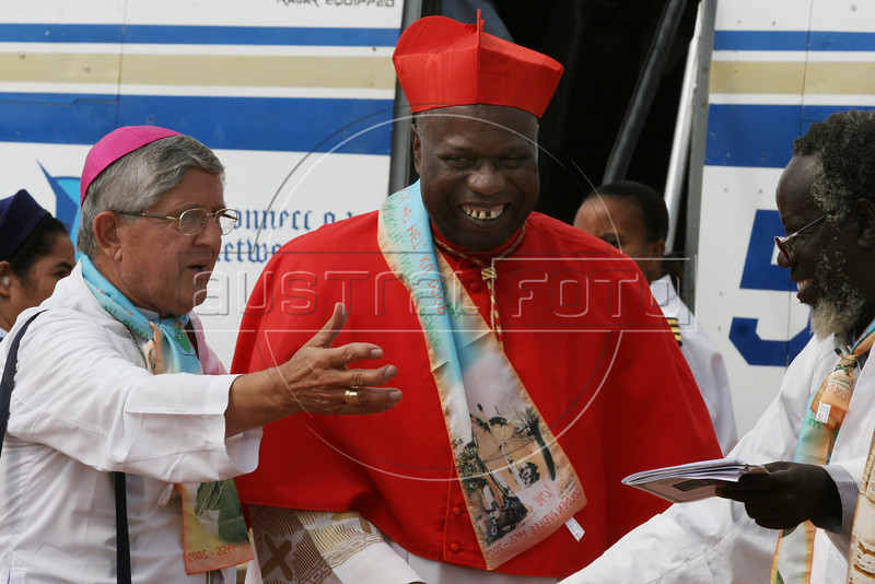 Catholic Archbishop of Khartoum, Cardinal Gabriel Zubeir Wako, right, is greeted by Bishop of Rumbek Caesar Mazzolari upon arrival in Rumbek in southern Sudan to celebrate the 50th anniversary of the Diocese of Rumbek, Nov. 19, 2005. Wako, the first Sudanese cardinal ever, was greeted by a great celebration seldom seen before the the Jan. 9, 2005 peace accord was signed. The accord ended a 21-year conflict in the largest nation in Africa, which has only known 11 years of peace since independence from Britain in 1956.  In the accord, the Islamic Arab Sudanese government agreed to give autonomy to the non-Muslim southern Sudan region. After a six year period a referendum will be held to decide on independence or rejoining with the central government. The region has a population of around 9 million and a predominantly rural, subsistence economy. More than 2 million people have died and more than 4 million are internally displaced or have become refugees as a result of the civil war and war-related impacts.(Australfoto/Douglas Engle)