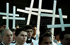 Seminarians hold crosses as they wait to begin a Good Friday procession in Rio de Janeiro, Brazil, Friday, April 2, 1999. The procession re-enacts Jesus' walk to his own crucifiction.(Australfoto/Douglas Engle)