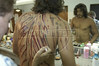 Brazilian actor Thiago Lacerda gets scar make up on  his back before his role as Jesus in the passion play of Nova Jerusalem, in Brazil's Northeastern state of Pernambuco. (Australfoto/Douglas Engle)