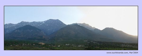 Panoramic image of Himalayas taken from Chinmaya Mission's Tapovan Ashram, Siddhbari, HP, India