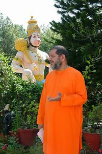 Swami Tejomayanandaji in from of Hanuman Statute at Tapovan Ashram, Siddhbari, HP, India