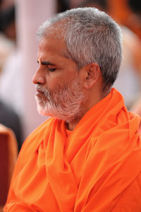 Swami Brahamanandji.  Paduka puja at Chinmaya Mission's International Camp, Dec 26th to Jan 1st, 2009 held at Chinmaya Vibhooti, Kolwan, Maharashtra, India.