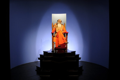 "Gurudev - Swami Chinmayanandaji's wax statue as seen in ""Chinmaya Jeevan Darshan"" (CJD).   Chinmaya Mission's International Camp was held from Dec 26th to Jan 1st, 2009 at Chinmaya Vibhooti, Kolwan, Maharashtra, India."