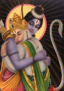Lord Ram hugging Hanumanji.