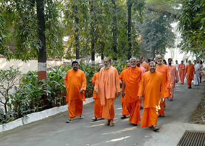 Swami Tejomayanandaji along with other acharyas of Chinmaya Mission at the Sandeepany Ashram, Powai, Mumbai, India.