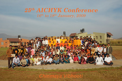 Group photo: Chinmaya Mission's 25th AICHYK (All India CHYK) Conference, 16th to 18th January 2009 at Chinmaya Vibhooti, Kolwan, Maharashtra, India.