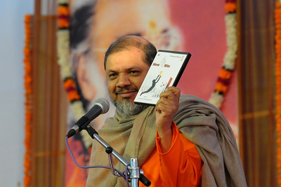 "Guruji releasing a DVD ""How to Win"" - Talk by Gurudev Swami Chinmayanandaji.  Chinmaya Mission's 25th AICHYK (All India CHYK) Conference, 16th to 18th January 2009 at Chinmaya Vibhooti, Kolwan, Maharashtra, India."