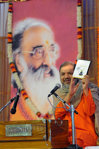 "Guruji releasing a DVD ""On Excellence"" - Talk by Gurudev Swami Chinmayanandaji.  Chinmaya Mission's 25th AICHYK (All India CHYK) Conference, 16th to 18th January 2009 at Chinmaya Vibhooti, Kolwan, Maharashtra, India."