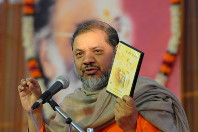 "Guruji releasing a DVD ""Youth Today"" - Talk by Gurudev Swami Chinmayanandaji.  Chinmaya Mission's 25th AICHYK (All India CHYK) Conference, 16th to 18th January 2009 at Chinmaya Vibhooti, Kolwan, Maharashtra, India."