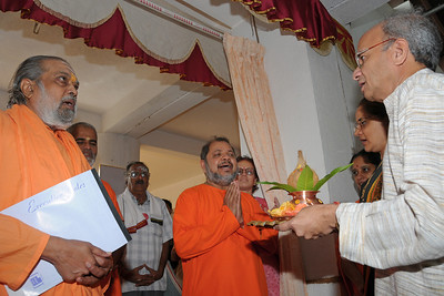 Guruji (Swami Tejomayanandaji) along with Swami Brahmanandaji and Swami Purushottamanandaji being welcomed by the Nenes. Chinmaya Mission's Aacharya Conference, July 2008 held at Chinmaya Vibhooti Vision Centre, Kolwan (near Lonavala/Pune), Maharashtra, India.