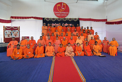 Group picture of the participantsat Chinmaya Mission's Aacharya Conference, July 2008 held at Chinmaya Vibhooti Vision Centre, Kolwan (near Lonavala/Pune), Maharashtra, India.