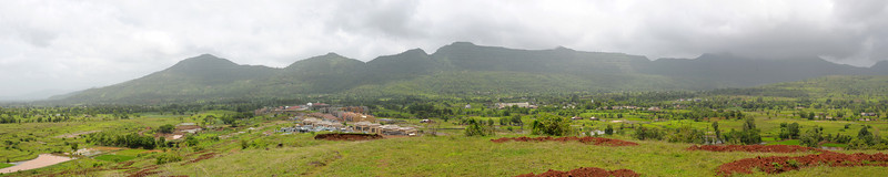Panoramic view of Chinmaya Vibhooti site.  Chinmaya Mission's Aacharya Conference, July 2008 held at Chinmaya Vibhooti Vision Centre, Kolwan (near Lonavala/Pune), Maharashtra, India.