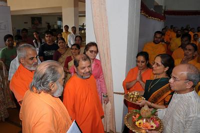 Guruji (Swami Tejomayanandaji) along with Swami Brahmanandaji and Swami Purushottamanandaji being welcomed by the Nenes. Chinmaya Mission's Aacharya Conference, July 2008 held at Chinmaya Vibhooti Vision Centre, Kolwan (near Lonavala/Pune), Maharashtra, India.
