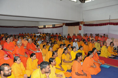 Participants from all over India at Chinmaya Mission's Aacharya Conference, July 2008 held at Chinmaya Vibhooti Vision Centre, Kolwan (near Lonavala/Pune), Maharashtra, India.