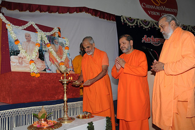 Guruji (Swami Tejomayanandaji) along with Swami Brahmanandaji and Swami Purushottamanandaji lighting the lamp and praying for a successful conference. Chinmaya Mission's Aacharya Conference, July 2008 held at Chinmaya Vibhooti Vision Centre, Kolwan (near Lonavala/Pune), Maharashtra, India.