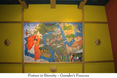 "Fixture in Eternity - Gurudev's Frescoes  Murals in the ""Journey with the Master"". Chinmaya Mission's Aacharya Conference, July 2008 held at Chinmaya Vibhooti Vision Centre, Kolwan (near Lonavala/Pune), Maharashtra, India."