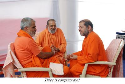 Three is company too!  Chinmaya Mission's Aacharya Conference, July 2008 held at Chinmaya Vibhooti Vision Centre, Kolwan (near Lonavala/Pune), Maharashtra, India.